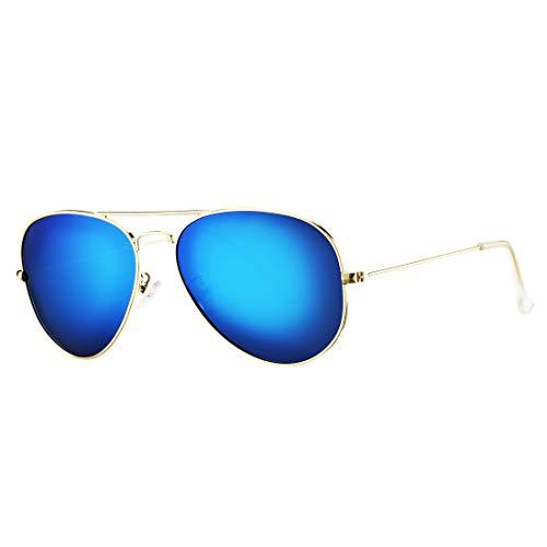 COASION Classic Polarized Aviator Sunglasses for Men Women Mirrored UV400 Protection Lens Metal Frame (Gold Frame/Blue Mirror ()