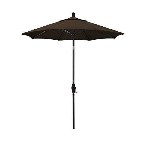 California Umbrella 7.5' Round Aluminum Pole Fiberglass Rib Market Umbrella, Crank Lift, Collar Tilt, Bronze Pole, Pacifica Mocha (Patio Collar Tilt Umbrella)