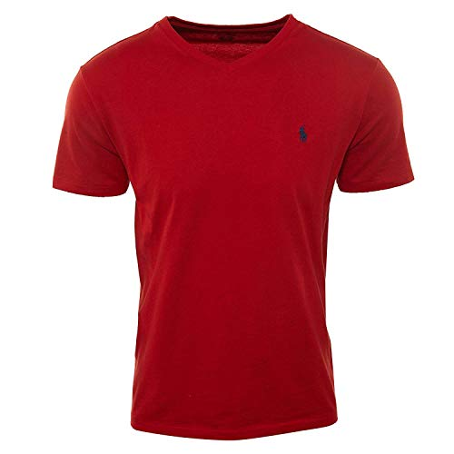 Polo Ralph Lauren Mens Classic Fit V-Neck T-Shirt (X-L, Red/Navy Pony)