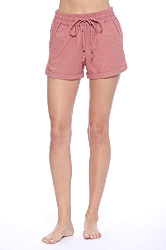 Urban Look Women's Casual Drawstring Linen Shorts (Medium, -