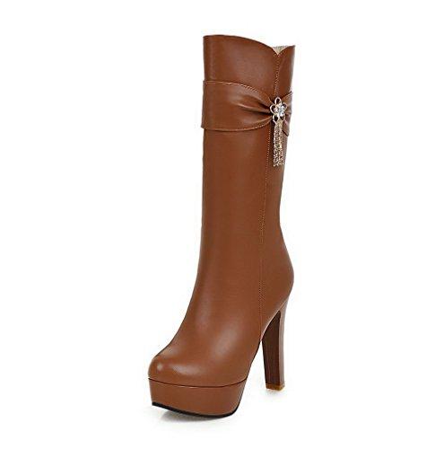 Allhqfashion Solid PU Round Zipper Women's Heels Closed High Boots Brown Toe arwpa4qU
