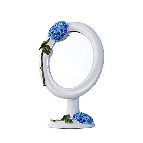 C&Q CQ European-Style Desktop Mirror Simple Countertop Portable Fashion Cute Princess Dressing Mirror Carved Base Mirror