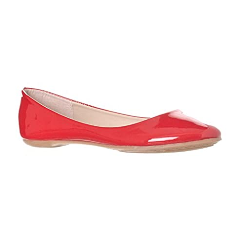 Riverberry Women's Aria Basic Closed Round Toe Ballet Flat Slip On Shoe, Red Patent, 10