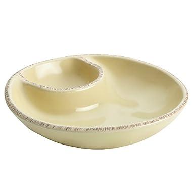 Rachael Ray Cucina Stoneware Snacking Dish, 7 x 1-1/2 , Almond Cream