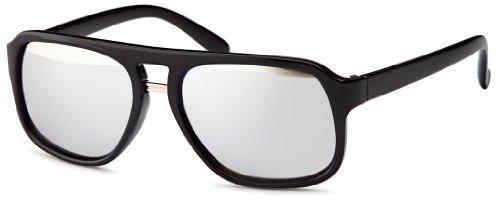 Sense42 Retro Metall Sonnenbrille mit silbernem Rahmen, silber verspiegelte Gläser, Nerdbrille Wayfarer-Stil Damen Herren Unisex mit Brillenbeutel