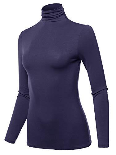 SSOULM Women's Long Sleeve Lightweight Turtleneck Top Pullover Sweater Navy M ()