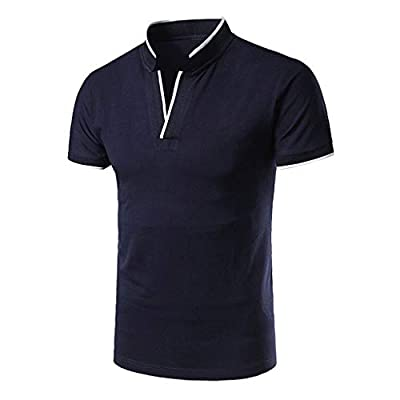 2019 New Polo Shirt for Mens Casual Fashion Standing Collar Youth Short-Sleeved Cotton Blouse Top T Shirt