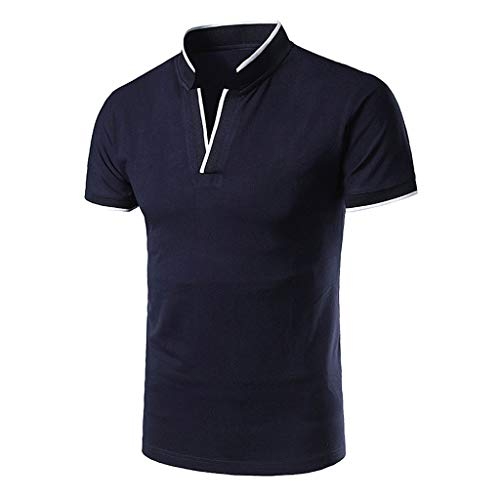 2019 New Polo Shirt for Mens Casual Fashion Standing Collar Youth Short-Sleeved Cotton Blouse Top T Shirt Navy