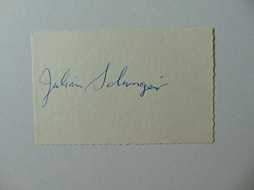 """""""Nobel Prize in Physics"""" Julian Schwinger Signed 2.5X4 Card JG Autographs COA from Unknown"""