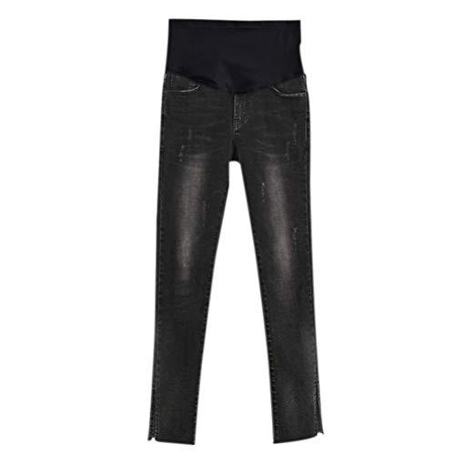 Maternity Stile Elastico Incinta In Jeans Vita Con Deylaying Pantaloni Donna 12 OTHEEw