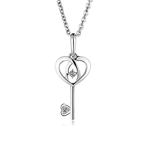 Adisaer 18k(750) White Gold Women Necklace Heart Key Pendant Round Diamond Wedding Necklace by Adisaer