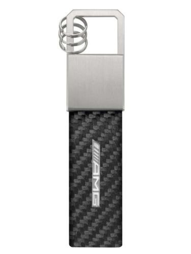 genuine-mercedes-benz-stainless-black-amg-carbon-leather-keyring-b66953848