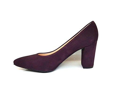 GENNIA MEDINAX - Women´s Closed Toe Leather Pumps with Block Heel Leather Suede A-003(pantone 7449 U) 2MWcc7LX