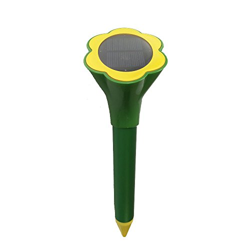 Solar Powered Mole Repeller Repel Mole Voles Gopher Mice Weatherproof for Outdoor Lawn Garden Yards Green 1 Pack