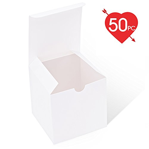 MESHA White Boxes 50 Pack 4 x 4 x 4 Inches, White Cardboard Gift Boxes with Lids for Gifts, Crafting, Cupcake (Cute Cupcake Boxes)