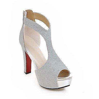 Talones de las mujeres Zapatos Primavera Verano Otoño del Club personalizada Materiales tacón grueso informal lentejuelas Negro Plata Oro Silver