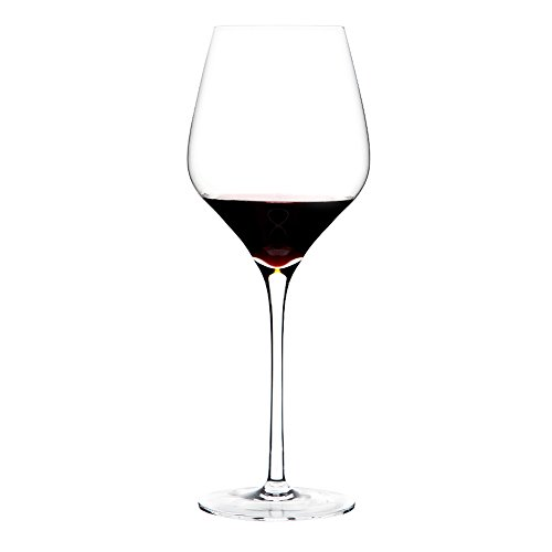 Triangle 21oz, Hand-blown Lead-free Crystal Glass Wine Glasses Set of 6, Large Bowl Long Stem, Bordeaux/Cabernet Red and White Wine Glass Gift Set (Glasses Large Bordeaux Wine)