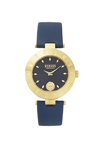 Versus by Versace Women's 'NEW LOGO' Quartz Stainless Steel and Leather Casual Watch, Color:Blue (Model: - Versace New