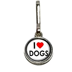 Graphics and More I Love Heart Dogs Antiqued Charm Clothes Purse Luggage Backpack Zipper Pull
