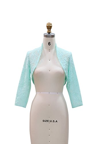 Aqua Floral Dress (Chic Queen Women's Long Sleeve Floral Lace Shrug Bolero Cardigan(XL/Aqua))