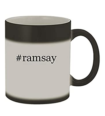 #ramsay - 11oz Color Changing Hashtag Sturdy Ceramic Coffee Cup Mug, Matte Black
