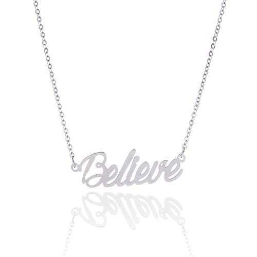 Huan Xun Stainless Steel Encourage Tiny Monogram Script Trust Necklace Jewelry  Believe