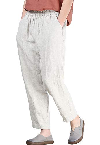 Mordenmiss Women's Linen Ankle Pants Capris Cropped Tapered Trousers with Pockets (L,Nature)