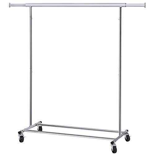 SONGMICS Clothes Rack on Wheels, Heavy Duty Garment Rack with Extendable Hanging Rail, Holds up to 198 lb, Collapsible Clothing Rack ()