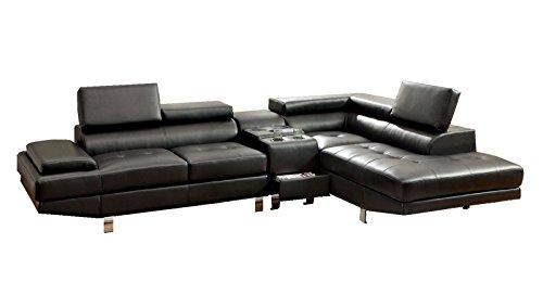 Greatime Modern Sectional Sofa, Black