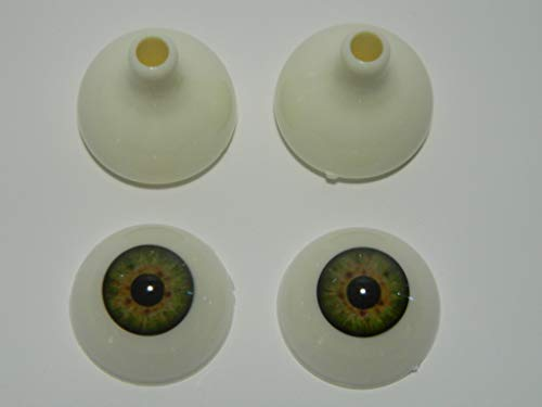 Pair of Realistic Acrylic Eyes for Halloween Props, Masks, Dolls or Bears (Green 26mm) -
