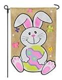 Easter Garden Flag 12×18 Easter Bunny with Egg Burlap Design – Garden Flags Easter – Home Garden Flag Review
