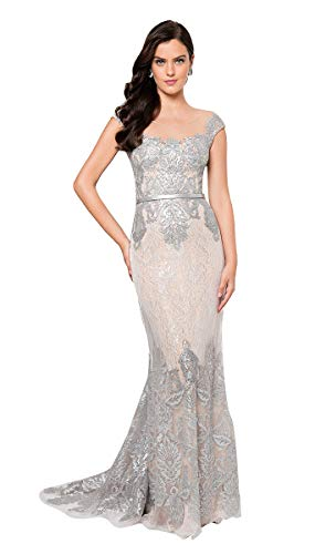 (Terani Couture Cap-Sleeved Off-Shoulder Illusion Long Dress)