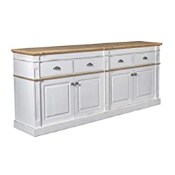 Farmhouse Buffet Sideboards Crafters and Weavers Asbury Rustic Wood 90″ 4 Door 4 Drawer Sideboard, White farmhouse buffet sideboards