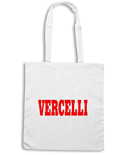 T-Shirtshock - Bolsa para la compra WC0874 VERCELLI ITALIA CITTA STEMMA LOGO Blanco