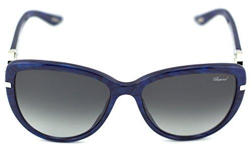Chopard SCH 205S Women Round Sunglasses (Shiny Blue Frame/Smoke Gradient Lenses 0VAB) ()