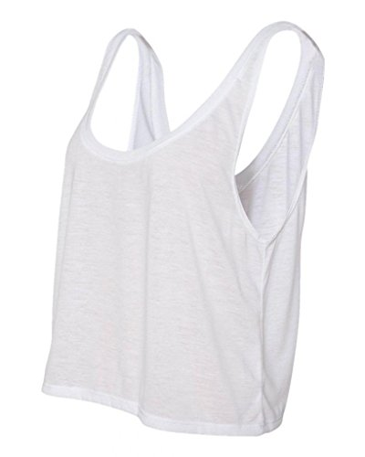 (Joe's USA- Ladies' Flowy Boxy Cropped Tank Top in 12 Colors White )