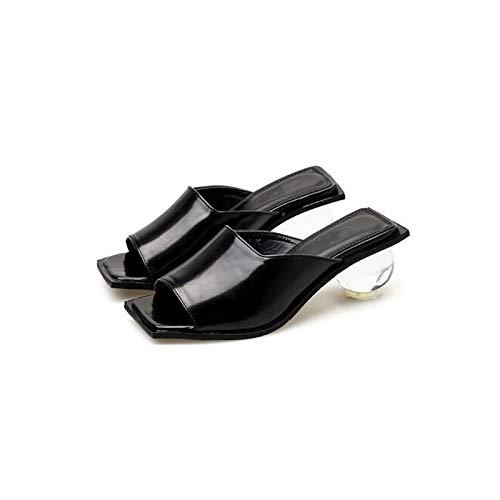 URTJSDG URTJSDG URTJSDG Pumps Beiläufige Frauen Hausschuhe Sommer Schuhe Sexy Sommer Rutscht Quadratische Zehe Kristall Ferse Schuhe Urlaub Strand Hausschuhe Schwarze Rutschen 83b97d