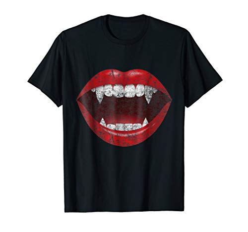 VAMPIRE KISSES BITE ME MOUTH TEETH LIPS T-SHIRT