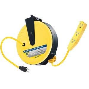 Voltec 07-00282 16/3 SJTW 3-Outlet Retractable Reel - Indoor Plug, 30-Foot, Yellow & Black