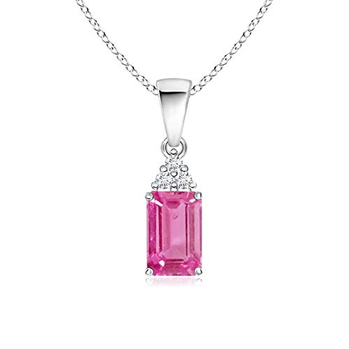 Emerald-Cut Pink Sapphire Pendant with Diamond Trio in 14K White Gold (7x5mm Pink - 14k Diamond Emerald Cut Wg