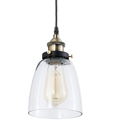 Light Society Camberly Mini Pendant Light, Clear Glass Shade with Brushed Bronze Finish, Vintage Modern Industrial Farmhouse Lighting Fixture (LS-C109)