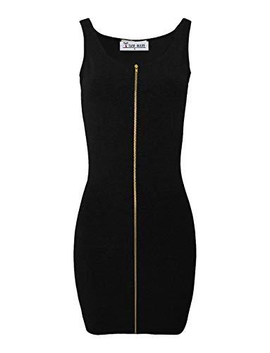 TAM WARE Women Slim Fit Zip Up Bodycon Mini Dress TWCWD079-BLACK-US S ()