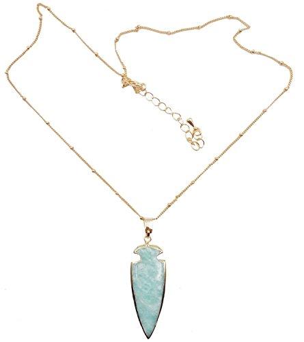 24K Gold Plated Natural Amazonite Raw Stone Necklace (Stone Pendant Amazonite)