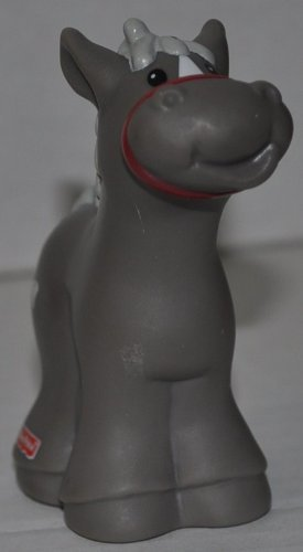 Little People Gray Horse (2003) - Replacement Figure Accessory - Classic Fisher Price Collectible Figures - Loose Out Of Package & Print (OOP) - Zoo Circus Ark Pet Castle