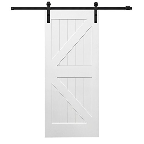 National Door Z0341683 Solid Core MDF K-Bar Planked, Primed, 42'' x 84'', Barn Door Unit by National Door Company