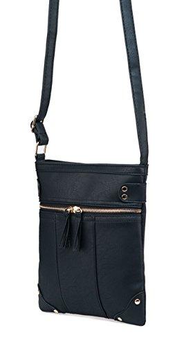 Women Leather ilishop Solid Modern PU Crossbody for Fashion Classic Bag Black zTxqrTPEw
