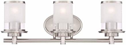 Hampton Bay 3-Light Brushed Nickel Bath Bar Light with Clear and Sand Glass