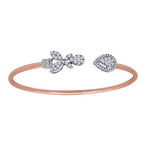 IGI-Certified 18K Rose Gold Round & Baguette Shape Real Diamond Adjustable Bangle bracelet (1.13 Ct)