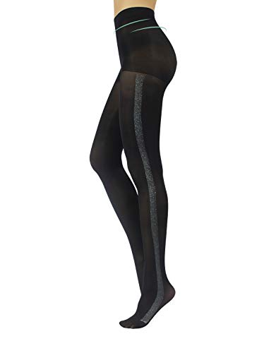 Opaque Women Tights | Shiny Pantyhose with Lurex Stripe | Sparkly Microfiber Shaper Tights | Black Gold Silver | S, M, L, XL | 60 DEN | Made in Italy (Black/Silver, XL)