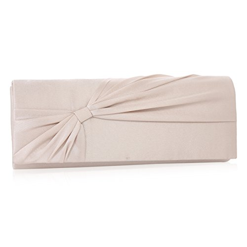 Clutch Large Bags Bridal Prop Bowknot Evening Wedding Satin Damara Champagne Womens 87q5wT
